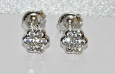 9ct White Gold Diamond Daisy Cluster Stud Earrings