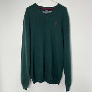 VIYELLA Forest Green 100% Pure Cashmere Jumper M Medium V Neck Long Sleeve