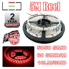 5M 24v RED LED STRIP LIGHT 5050 300SMD 18LM/SMD 60SMD/m BRIGHT IP65 WATERPROOF