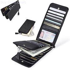Leather Wallet RFID Blocking Credit Card Holder Women Case Purse Zipper Pocket