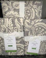 New~Pottery Barn Alessandra Scroll Duvet Cover KING + 2 Euro Shams~Gray