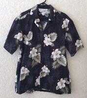 Pacific Legend Hawaiian Shirt Made in Hawaii Men's Size XL Black Hibiscus Palm