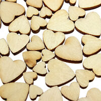 60X Mini Mixed Heart Wooden Embellishments DIY Art Craft Cardmaking Scrapbooking