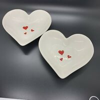 Hallmark Valentine Heart Shaped Candy Dish Trinket White Red Hearts Qty 2 Used