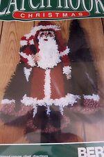 "BERNAT ANTIQUE SANTA Latch Hook Christmas Rug Wall Hanging Kit 18"" x 24"" 1992"