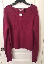 NWT $395 Helmut Lang Drop Needle Lambswool Sweater Sz M