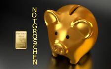 """1,0 Gramm Goldbarren Motiv-Karte """"Notgroschen, Sparschwein"""" Feingold/999,9 Gold"""