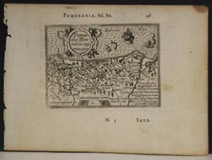 POLAND & GERMANY 1602 ORTELIUS UNUSUAL ANTIQUE COPPER ENGRAVED MINIATURE MAP