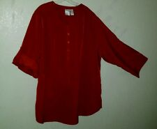 Very Cute Dressy ROMAN'S Size 3X Red Tunic Top Adjustable Sleeves Easy Care