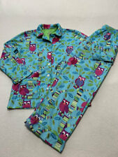 Nick & Nora L 10 12 Flannel Owl Tree Leaf Pajama Set Girls Aqua Pink Purple