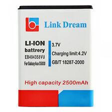 Replacment 3.7V 2500mAh Li-ion Battery For Samsung Galaxy Ace EB494358VU S5830