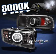 1994-2001 DODGE RAM TRUCK CCFL HALO LED BLACK PROJECTOR HEADLIGHT LAMP+HID 8000K