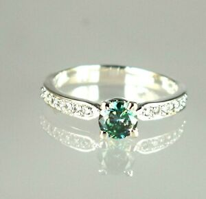 2.54 Ct Round Green Diamond Solitaire Halo Ring-deal Gift For Wife
