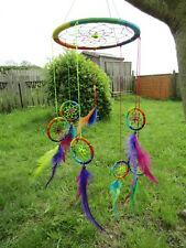 Hand Made Large Rainbow Spiral Dream Catcher Dreamcatcher Mobile Wall Hanging