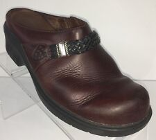 Ariat Size 7.5 Brown Leather Clogs Mules Silver Medallion Detail