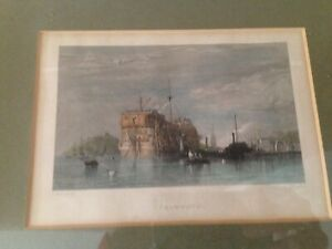 Falmouth antique hand tinted engraving  I. Cousen after C. Stanfield.Circa 1835