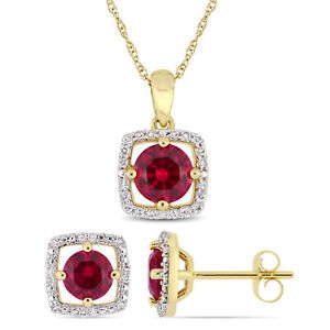 Amour 10k Yellow Gold Created Ruby and Diamond Floating Halo Jewelry Set