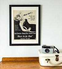Original Vintage 1950 Retro Framed Advert (43 x 33cms) Man Bait, Joan Fontaine