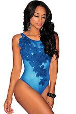 Body camicia maglia ricamo pizzo trasparente Embroidered Sheer Mesh Bodysuit XL