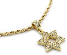 "Men Gold Plated Star Of David Cz Pendant Hip-Hop 24"" 4mm Rope Necklace Chain M3"