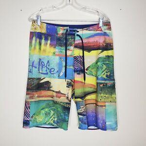 Salt Life SLX-QD Vapor Stretch Mens Colorful Art Logo Fish Print Board Shorts 30