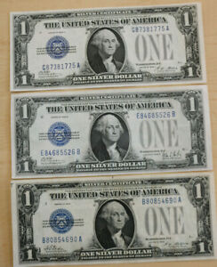 Lot of 3 1$ Funny Back Silver Certificates 1928,1928 B,1928 A *LOOK*UNCIRCULATED