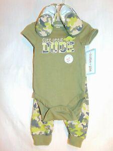 CUTE LITTLE DUDE Size 3/6M - 3 pc Set Camouflage Dinosaur Bodysuit Pants & Shoes