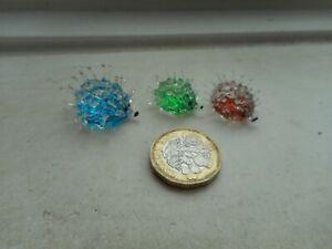HEDGEHOG  - GLASS -  3 x TINY MINIATURE BLUE, BROWN & GREEN PRICKLY HEDGEHOGS