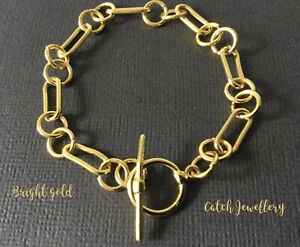 Bright Gold Chunky Paperclip Chain Oval Link Bracelet With Toggle Fastener Boho