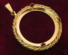 Round Rope Pendant Gold Plate 35 mm Pronged (pk 3) 1187