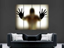SHADOW SILHOUETTE GLASS STEAMED UP SHOWER  MAN HANDS LARGE  GIANT POSTER PRINT
