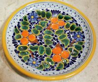 "TALAVERA MEXICAN POTTERY PLATE/PLATTER 10.3"" HAND PAINTED - ""STAND NOT INCLUDED"""