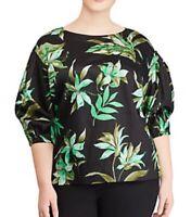 Size 2X Ralph Lauren Black Floral 3/4 Sleeve Shirt Top Blouse Women's Plus NWT