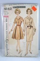 Vintage 1965-1967 Simplicity Sew Pattern # 4542 Dress Size 16 1/2 BUST 37 1965
