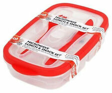 Heat & Eat MICROWAVE LUNCH & SNACK SET With Cutlery Red Dishwasher Safe BPA Free
