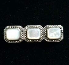 Vintage .925 sterling silver marcasite &  Abelone brooch/pin