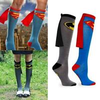 Super Hero Wonder Woman Batman Knee High With Cape Soccer Cosplay Cotton Socks