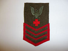 13028s WW 2 US Navy USMC Pharmacist's Mate 1st Class Rate Green/Red Wool R6C