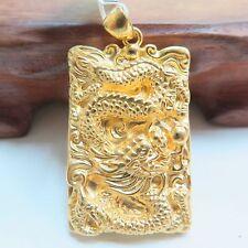 Pure 999 24k Yellow Gold Pendant Men Gift Dragon Oblong Pendant 43mm x 25mm