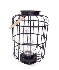 Lanterna nera in metallo con porta candela decorazione casa interno/esterno