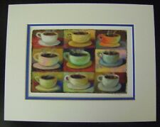 "Signed KIM DREW ART PRINT 9 Cups SEATTLE ARTIST 14"" x 11"" with Mat Unframed"