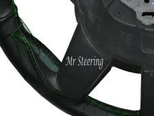 REAL BLACK LEATHER STEERING WHEEL COVER GREEN STITCH FOR JEEP LIBERTY KJ 2001-07