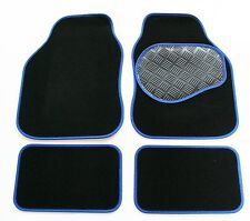 Mercedes E Class (W210) 96-03 Black & Blue Carpet Car Mats - Rubber Heel Pad