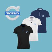Herren Volvo Polo T Shirt Slim Fit GESTICKTE Stickerei Auto Logo Tee Figurbetont