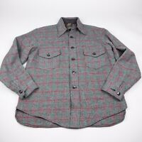 Vtg 50s LL Bean Thick Wool Button Up Flannel Shirt Jacket Mens Large Gray Plaid