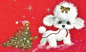 "VINTAGE NORCROSS POODLE CHRISTMAS CARD 5"" X 7"" NEW, OLD STOCK"