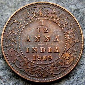 INDIA EDWARD VII 1909 1/12 ANNA, HIGH GRADE