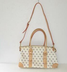 Authentic Dooney & Bourke Signature off-white pebble leather medium satchel bag