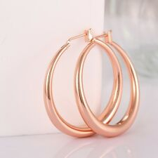 Fashion Lady Big Hoop Earrings Round Women 18k Rose Gold Plated