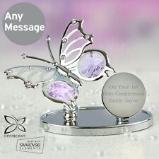 -:- First Holy Communion -:- PERSONALISED Silver Plated Swarovski Butterfly Gift